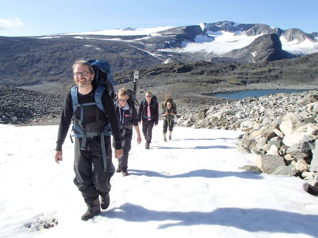 Going up to the 2000 m+ site in the Jotunheimen Mountains